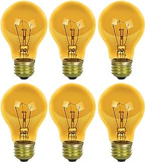 Sunlite 25A/TB/Y/6PK Incandescent Yellow A19 25W Light Bulbs, Medium (E26) Base, 6 Pack, Transparent
