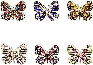 Lot 6pcs Multicolor Rhinestone Crystal Butterfly Brooch Pin Set for Women