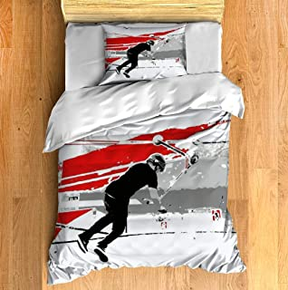 Duvet Cover Set Spinning The Deck Tail Whip Scooter Stunt Bedding Set Comforter Cover with Zipper Closure, Bed Quilt Cover Pillow case for Girls Boys, 68
