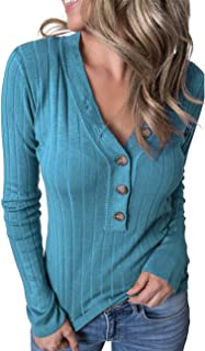 MEROKEETY Women's Long Sleeve V Neck Ribbed Button Knit...