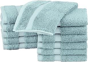 Pinzon Organic Cotton Bathroom Washcloths, Set of 12, Spa Blue