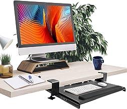 Clamp on Keyboard Tray, Keyboard Tray Under Desk, Tray Adjustable Ergonomic Design, Keyboard Drawer Wrist Rest for Long-Te...