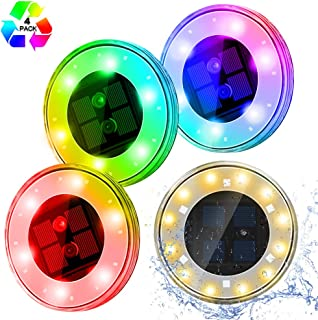 Solar Lights Outdoor Garden, [Upgrade RGB Version] ESEYE 4 Pack 18 LED Waterproof Solar Disk Ground Lights - Round Pool Floating Spotlights with Solar Panel for Decorative Backyard Driveway Lawn Path
