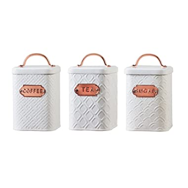 Amici Home Ventana White with Copper Emblems 60 oz Metal Storage Canisters, Set of 3