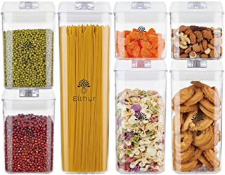 ELTHUR (Ship from UAE) Airtight Food Storage Container set with Sticker labels, 7 Piece set Kitchen Pantry Sealed Leak Pro...