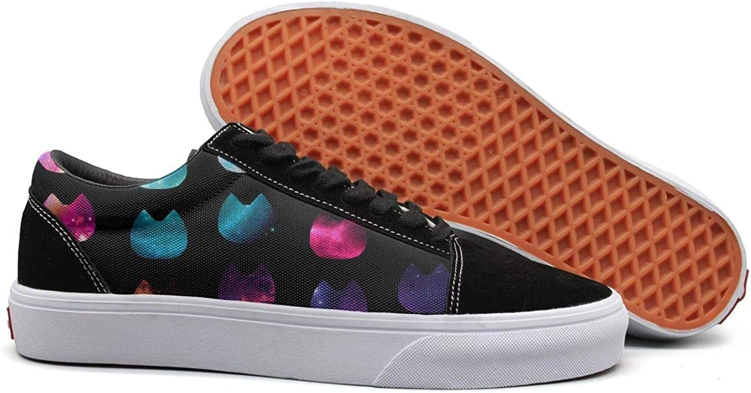 Galaxy Cats Repeat Womens Lace up Canvas shoes Canvas Upper