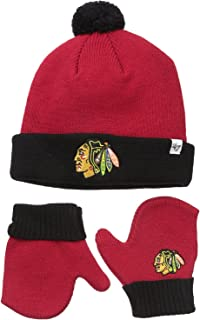 '47 Brand Infant/Toddler Bam Bam 2-Tone Beanie Hat POM and Glove Gift Combo - NHL Baby Knit Cap/Mittens