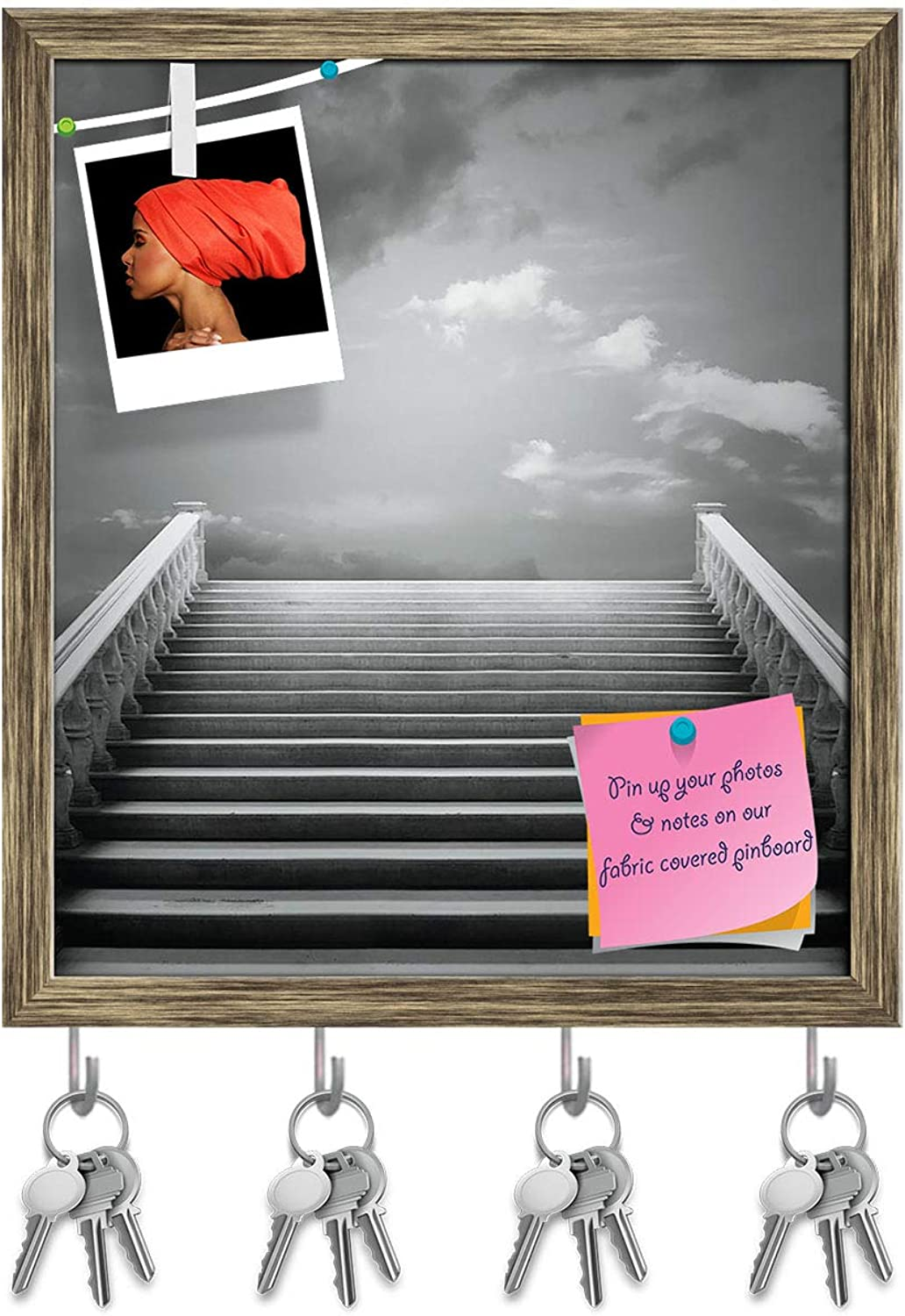Artzfolio Staircase with A Cloudy Sky Key Holder Hooks   Notice Pin Board   Antique golden Frame 16 X 18.3Inch