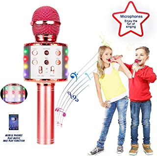 BFYWB Wireless Portable Handheld Bluetooth Karaoke Microphone with 20 LED Flashes and 5 Vocal Conversion Modes - Best Toys and Gifts