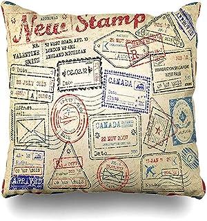 Funda de Almohada Funda de Almohada Fechado Retro Sellos de Pasaporte Correo Recibido Visa Travel Mail USA Depósito Funda de cojín con Cremallera