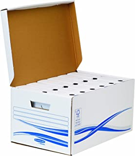 Fellowes Bankers Box Basic Lot de 6 Boîtes + Conteneur 8 cm Blanc/Bleu