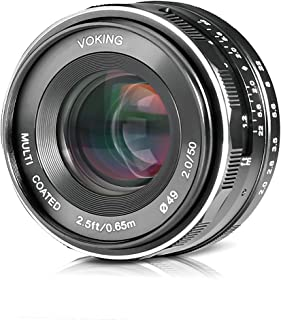 Voking 50mm f/2.0 Large Aperture Manual Focus MFT M4/3 Lens APS-C for Micro 4/3 System Olympus Panasonic Lumix Mirrorless Cameras