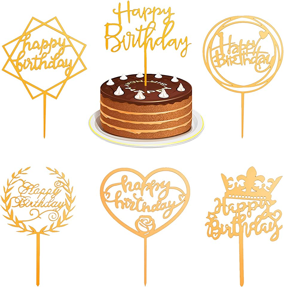 6 Pack Happy Birthday Cake Toppers, Fonrroni Gold Glittery Acrylic Cake Toppers for Birthday Party Cake Decorations
