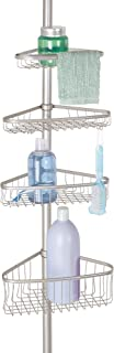 iDesign York Metal Wire Tension Rod Corner Shower Caddy, Pole, and Baskets for Shampoo, Conditioner, Soap, Adjustable 5'-9...