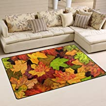 Doormat Dry Autumn Fall Leaves 31x20 inch Welcome Holiday Floormat, Yellow Green Red Outdoor Indoor Non Slip Bath Kitchen ...
