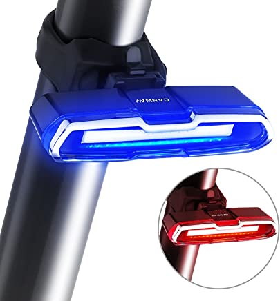 SODIAL Luce posteriore della bici Luce della bici ultra luminosa Luce LED posteriore ricaricabile della bicicletta 5 fari di modalita' luce con rosso + blu