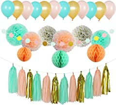 Party Decoration Kit, 32 Pieces - Coral, Mint Green and Gold - Tissue Paper Decor with Pom Poms, Balls,Balloons, Tassels, Garland - Birthday Parties, Bridal and Baby Showers, Wedding Supplies