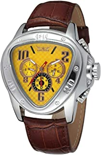 Men's Oversized Triangle Dial Automatic Mechanical Leather Band Watch Date/Week/24H Sub-dials (Yellow)