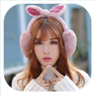 Adjustable!!!Elegant Rabbit Fur Winter Earmuffs For Women Warm Earmuffs Ear Warmers Gifts For Girls Cover Ears Fashion Brand,Darkpink