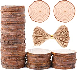 Caydo 50 Pieces 2.4-2.8 Inches Unfinished Predrilled Wood Slices Thickness of 0.5cm Round Log Discs and 33 Feet Natural Jute Twine for Christmas Ornaments and Home Hanging Decorations