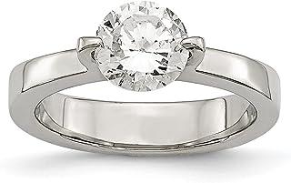 Diamond2Deal - Anello di Fidanzamento in Acciaio Inox con zirconi, Taglio Rotondo
