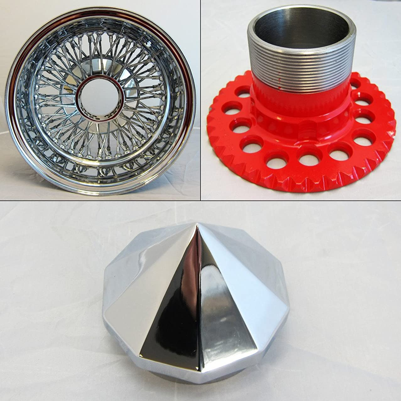DONGFANG 14x7 REV Recerse 72 Spoke Wire Wheels Cross Lace Chrome Rims 4pcs