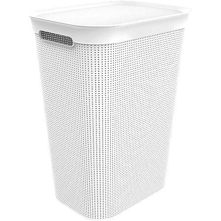 rotho. 1023501023 Collecteur de lavage 50l avec couvercle et 2 poignées, Plastique (PP) sans BPA, Gui Blanc, (43,1 x 34 x 52,9 cm)