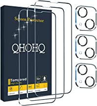 """QHOHQ 3 Pack Screen Protector for iPhone 13 6.1"""" with 3 Packs Camera Lens Protector, Ultra HD Full Screen Tempered Glass F..."""