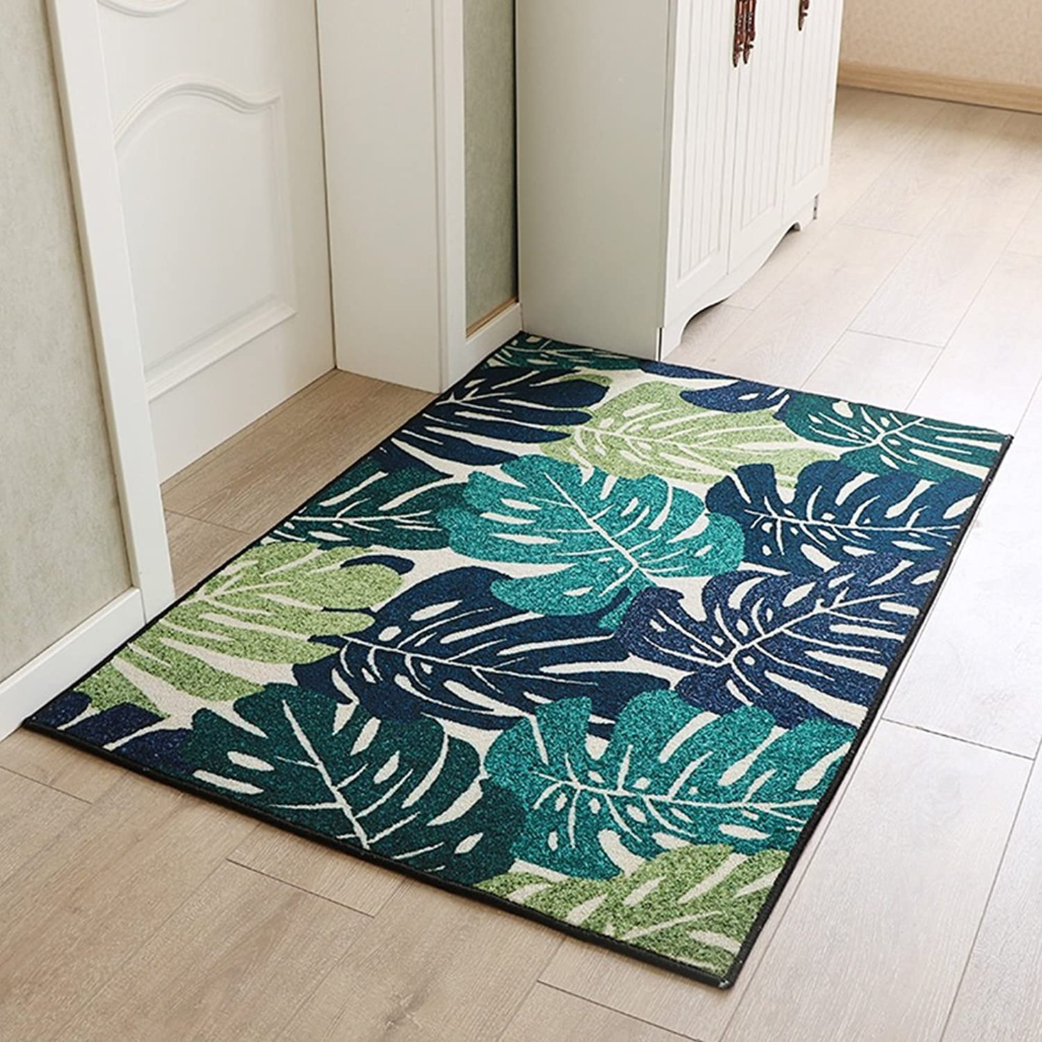 Door mats Home mats Carpets Small Fresh bluee Carpets Beside The Bed Stylish Non-Slip mats Foot-to-Door mats Bedroom Doormats Soft and Comfortable (color   Green, Size   90  120cm)