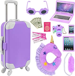 K.T. Fancy 16 pcs American 18 Doll Accessories Suitcase Travel Luggage Play Set for 18 Inch Doll Travel Carrier, Sunglasse...
