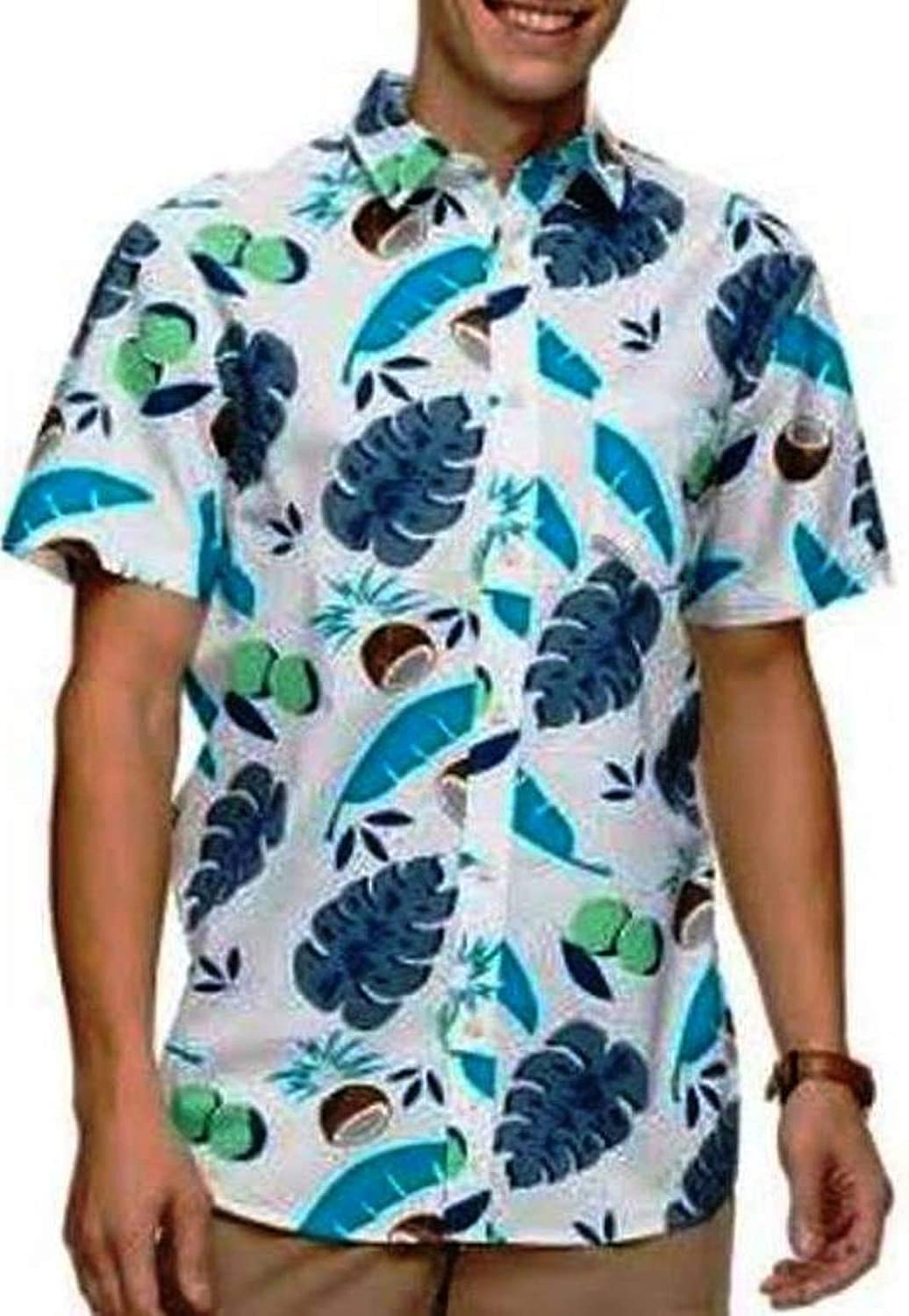 Urban Pipeline Navy Print Woven Casual Button-Down Short Sleeve Shirt Coconuts X-Large