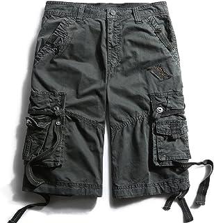 pantalones cortos cargo de algodón de ajuste holgado con múltiples bolsillos para hombre.