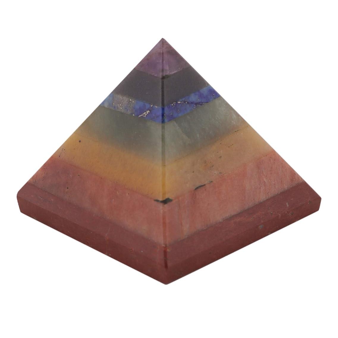立方体解釈する納屋Healing Crystals India A Single 7 Gemstone Yogic Chakra (Root (Muladhara), Sacral (Swadhisthana), Solar Plexus (Manipura), Heart (Anahata), Throat (Vishuddhi), Third Eye (Ajna), Crown (Sahasrara)) Pyramid 50 mm Natural Seven Chakra Bonded Pyramid Amethyst-Blue Aventurine-Lapis Lazuli-Green AVenturine-Yellow Aventurine-Carnelian-Red Jasper by Healing Crystals India