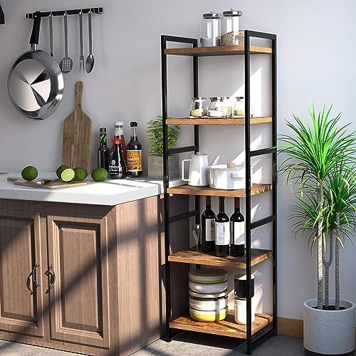 Homfa 5-Tier Corner Shelf, Free Standing Ladder Shaped Plant Flower Stand Rack Bathroom Storage Tower Industrial Styl...