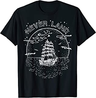 Peter Pan Fly To Never Land Ship Line Art T-Shirt
