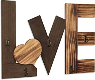 Kadolina Wall Wood Love Sign with 5 Hooks Rustic Wall Decor Hanging Design for Coat, Keys, Hat Rack in Entryway, Bedroom, Living Room, Farmhouse