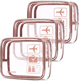 UtoteBag Clear Travel Toiletry Bag TSA Approved Cosmetic Bag Set Water-resistant Transparent PVC Makeup Pouch Carry On Airport Airline Compliant Bag for Women Girls Men Boys Travel(3 packs,Rose Gold)