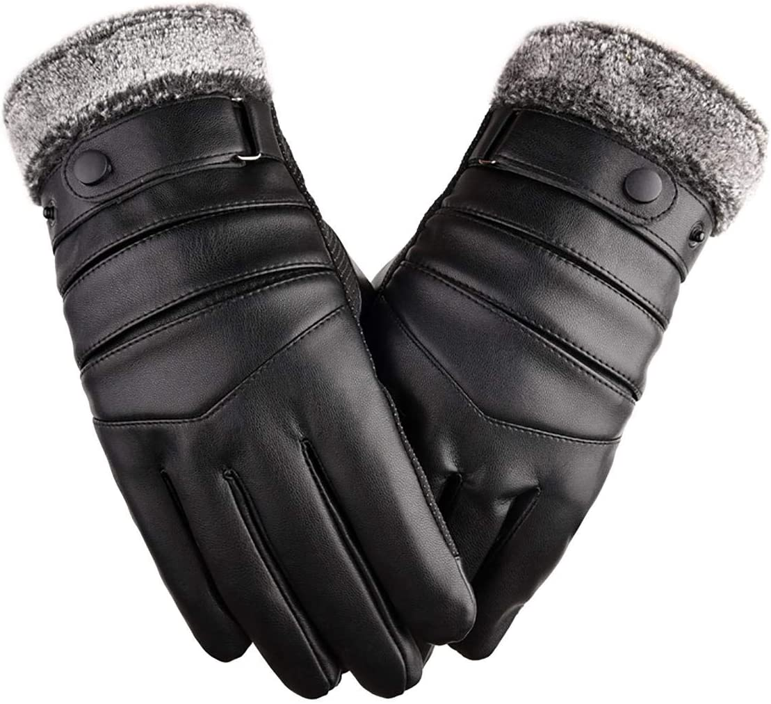 Lupovin-Keep Warm Caloric Leather Ski Gloves Man Woman Winter Quick Touch Screen Anti-Slip Mitten Non-Slip