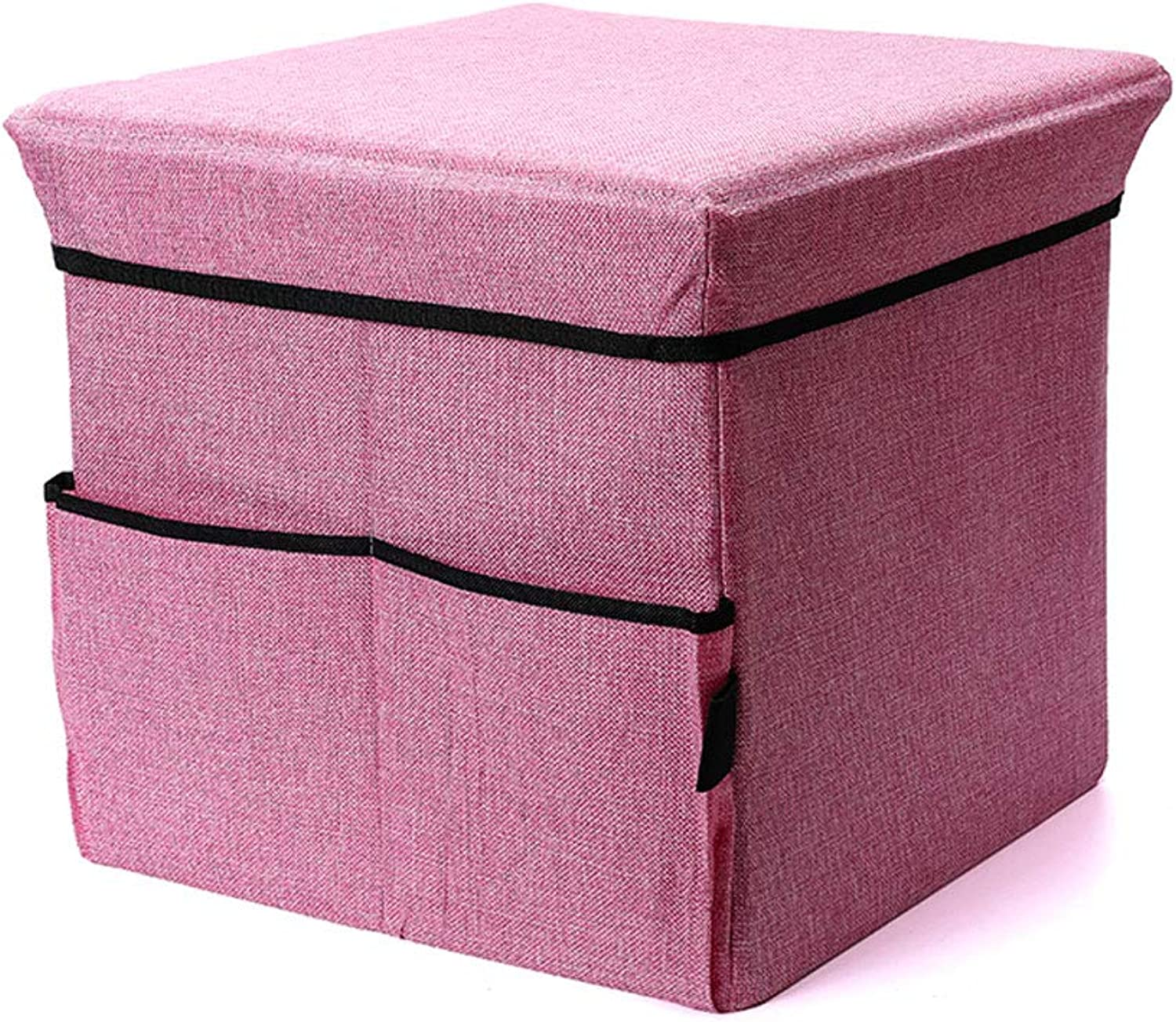 NJ Storage stool Multifunction Household Collapsible Finishing Storage Stool, Living Room Bedroom Foyer Can Sit Storage Stool (color   PINK, Size   L38xW38xH36cm)