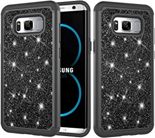 Galaxy S8 Plus Case, Galaxy S8+ Case, Folice Hybrid Heavy Duty Protection Shockproof Glitter Sparkly Bling Protective Cover for Samsung Galaxy S8+ / S8 Plus (Black)