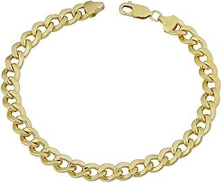 Bracciale a catena in oro giallo 14 carati, 7 mm, 21,6 cm