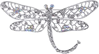 ALILANG Silver Tone Iridescent Clear Crystal Rhinestone Dragonfly Flying Insect Brooch Pin