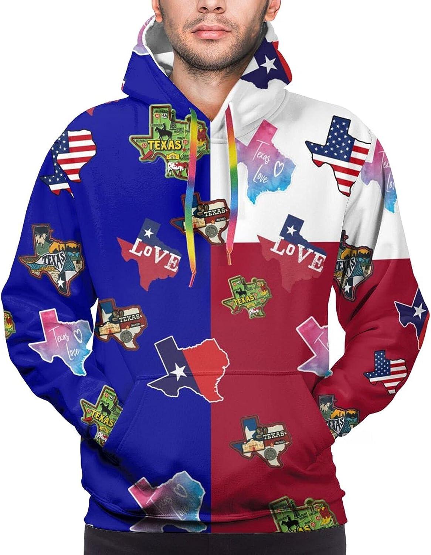 Hoodie For Mens Womens Teens Love Texas Flag Hoodies Fashion Sweatshirt Drawstring