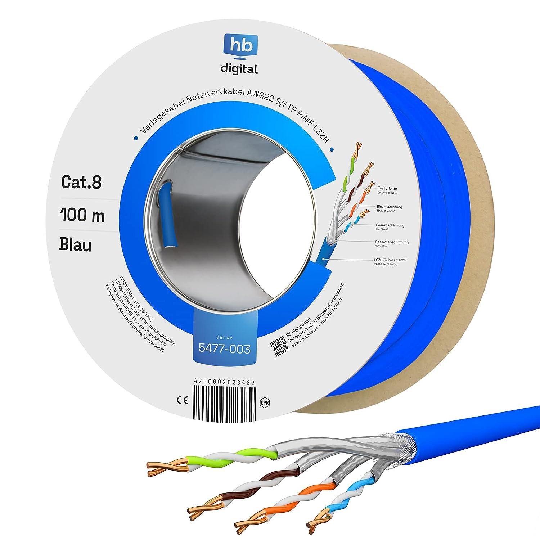 HB-DIGITAL 100m Cat. 8 cable de red tendido cable de instalación B2Ca interior-∅ 0,6 mm Ethernet cable LAN Cat8 hasta 40 Gbit/s cobre S/FTP 2000 MHz PIMF LSZH libre de halógenos AWG 22/1 azul