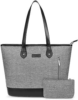 UtoteBag Women 15.6 Inch Laptop Tote Bag Notebook Shoulder Bag Lightweight Multi-Pocket Nylon Business Work Office Briefcase for Computer/MacBook/Ultrabook (Grey)