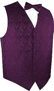 Men's Paisley Dress Vest Bow Tie Set for Suit Tuxedo
