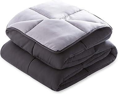 Linenspa All-Season Reversible Down Alternative Quilted Comforter - Hypoallergenic - Plush Microfiber Fill - Machine Washable - Duvet Insert or Stand-Alone Comforter - Black/Graphite - Queen