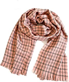 WUNONG-AU Autumn Winter Black White Plaid Scarves Increase Imitation Cashmere Shawl European and American Scarves Keep Warm Scarf (Color : Pink, Size : 190cm)