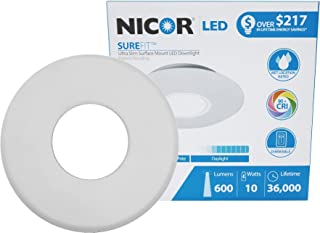 NICOR Lighting SureFit 5.25-Inch Round Ultra Slim 2700K LED Junction Box Retrofit Downlight Kit, White (DLF-10-120-2K-WH)