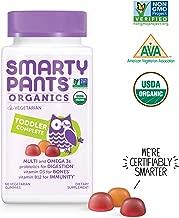 Daily Organic Gummy Toddler Multivitamin: Biotin, Vitamin C, D3, E, B12, A, Omega 3 Fish Oil, Zinc, Selenium, Niacin, Iodine, Choline, Methylfolate, Thiamine by SmartyPants (60 Count, 30 Day Supply)